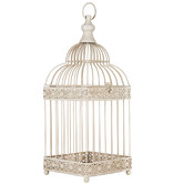 Antique White Metal Bird Cage
